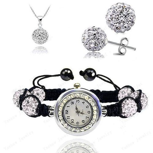 AENINE Watch Sets Necklace Bracelet Earrings Crystal Jewelry Watch Sets mm Micro Pave Disco Beads Crystal