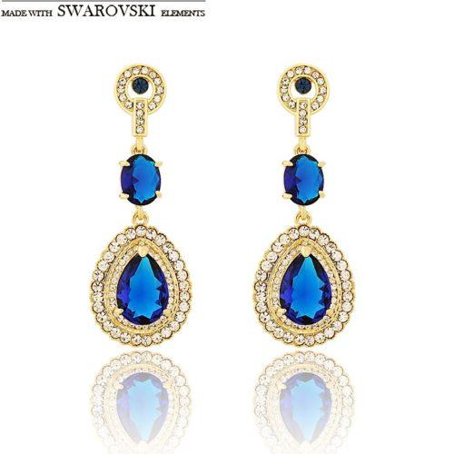 Neoglory Austria Rhinestone Zircon Dangle Earrings Vintage Style Light Yellow Gold Color Water Drop Design Lady
