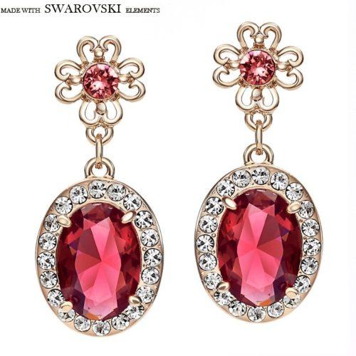 Neoglory Austria Rhinestone Zircon Drop Long Earrings Vintage Trendy Gift For Women Flower Oval Design New