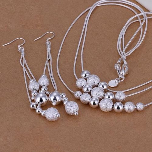 Hot Sell Silver Jewerly Set Cheap Bridal Party Sets Three Line Multi Beads Fashion Silver Necklace