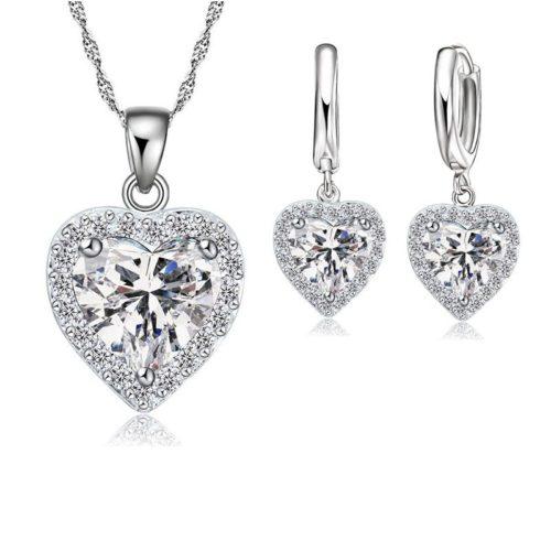 Jemmin Fine  Sterling Silver Jewelry Set For Women Bridal Wedding Heart Austrian Crystal Necklaces Earrings
