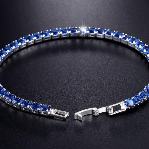 UMODE New CZ Cubic Zirconia Dark Blue Neat Tennis Bracelet For Women New Year s Gifts