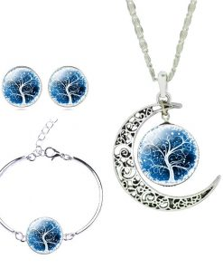 Silver Color Moon Shaped with Glass Cabochon Tree of Life Pattern Pendant Necklace Earring Bangle SET