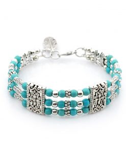 layer silver plated zinc alloy Natural stone bracelet Ms bracelet many colors mix and match