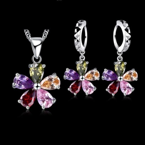 JEXXI Five Petaled Flowers Shinning Colorful CZ Crystal Pendant Jewelry Sets Sterling Necklace Dangle Hoop