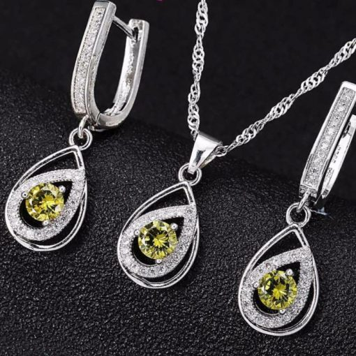 Jemmin Elegant Water Drop Crystal Bridal Wedding Jewelry Sets For Woman Charm  Sterling Silver Pendant