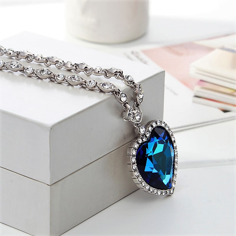 Neoglory Austria Crystal Zircon Long Charm Pendant Necklace Romantic Love Heart Design Trendy Exquisite Classic Sale