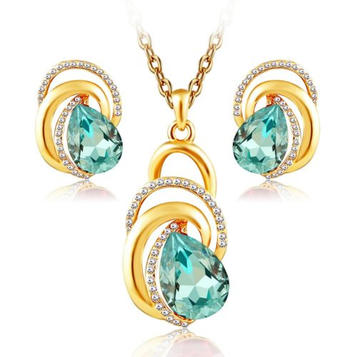 Dubai Gold Silver Plated Water Drop Red Blue Crystal Chain Necklace Earrings fashion Wedding Party Women