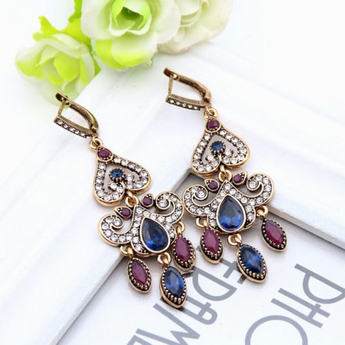 Fashion Vintage Turkish Earrings For Women Antique Water Drop Gold Color Brincos Arabesque Ethnic Engagement Party