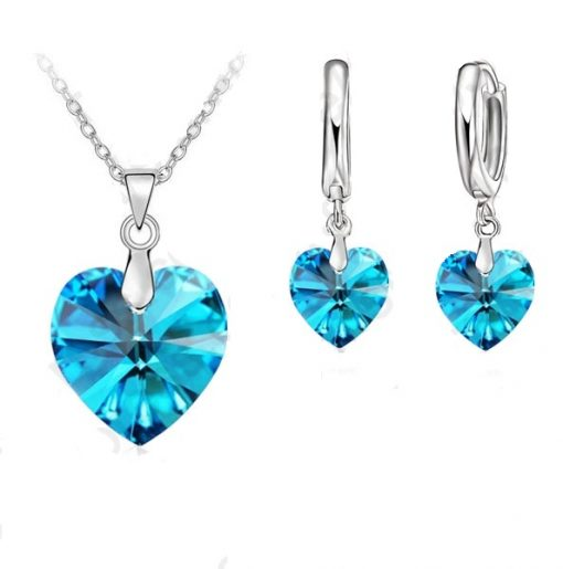 Jemmin One Set Austrian Crystal  Sterling Silver Jewelry Heart Pendant Necklaces Lever Back Earrings Woman