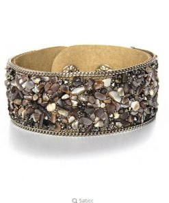 Hot Ssle Fashion women charm wrap Bracelets Slake Leather Bracelets With Crystals Stone Couple Jewelry beige