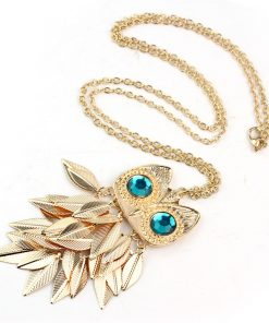 NEW Fashion Cute Stylish Golden Owl With Big Blue Eye Pendant Necklace Chain Great Gift