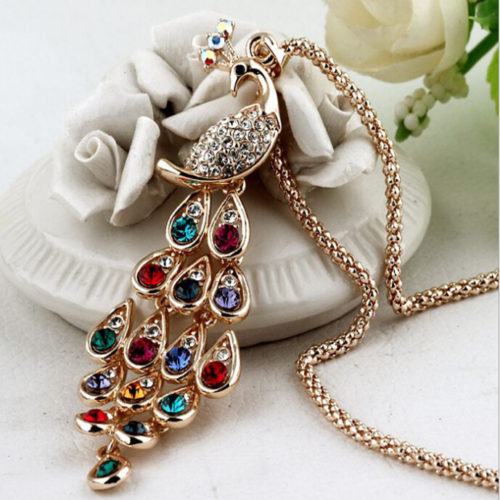 Big Size Hot New Fashion Trendy Peacock Long Colorful Crystal Necklaces Pendants For Women N