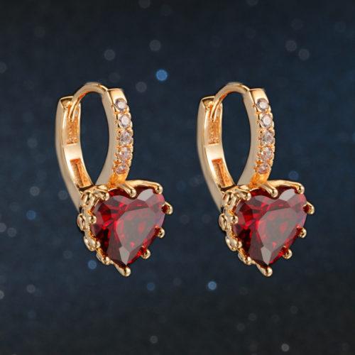 Classic Design Rose Gold Color Cushion Cut Big Cubic Zirconia Wedding Hoop Earrings for Women DFE