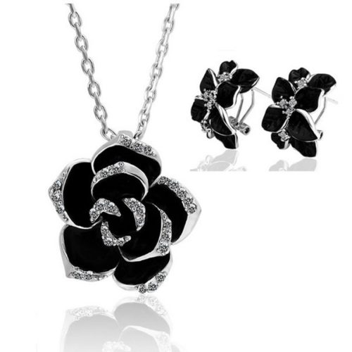 Fashion Rose Flower Enamel Jewelry Set Gold Color Black Painting Jewelry Sets for women silver black