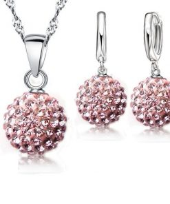 JEXXI Best Hot New Jewelry Sets  Sterling Silver Austrian Crystal Pave Disco Ball Lever Back
