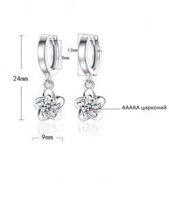 JYouHF Flower Drop Earrings Fashion  Sterling Silver White Purple CZ Zircon Crystal Earrings for Women