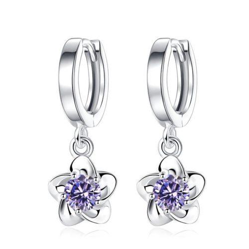 JYouHF Flower Drop Earrings Fashion  Sterling Silver White Purple CZ Zircon Crystal Earrings for Women purple