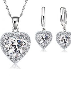 Jemmin Fine  Sterling Silver Jewelry Set For Women Bridal Wedding Heart Austrian Crystal Necklaces Earrings