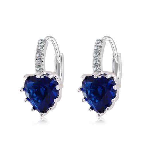 Jemmin Luxury  Sterling Silver Heart Crystal Earrings For Women  Wedding Silver Hoop Earring For
