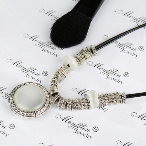 Necklaces Pendants Statement Fashion Jewelry Collier Femme For Women Boho Vintage Opal Maxi Colar Leather Bijoux