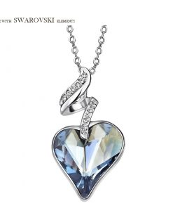 Neoglory Austria Crystal Czech Rhinestone Charm Pendant Long Necklace Love Heart Design Elegant Style Romantic Lady