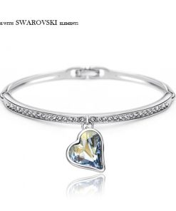 Neoglory Austria Crystal Rhinestone Charm Bangle Alloy Plated Romantic Heart Design Glaring Style Bracelet For Classic