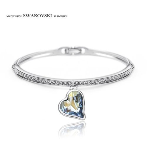 Neoglory Austria Crystal Rhinestone Charm Bangle Alloy Plated Romantic Heart Design Glaring Style Bracelet For Classic
