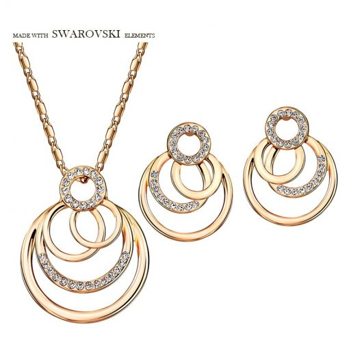 Neoglory Austria Rhinestone Jewelry Set Trendy Geometric Round Stylish Rose Gold Color For Necklace Earrings Lady