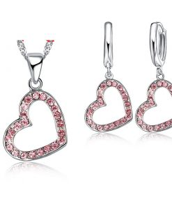 New Arrival Pink Crystal Romantic Wedding Heart Jewelry Sets for Women Fashion Birdal  Sterling Silver