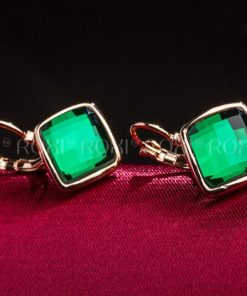 ROXI Brand Earrings For Women Crystal Green Earrings Gold Color Lozenge Dangle Earrings Fashion Jewelry Engagement