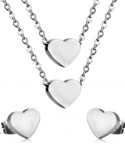 Romantic Forever Love Heart Earring Double Necklace Jewelry Set For Women Friendship Stainless Steel Wedding Jewellery