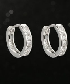 Silver Color Vintage Cubic Zirconia Round Loop Wedding Hoop Earrings for Women DFE