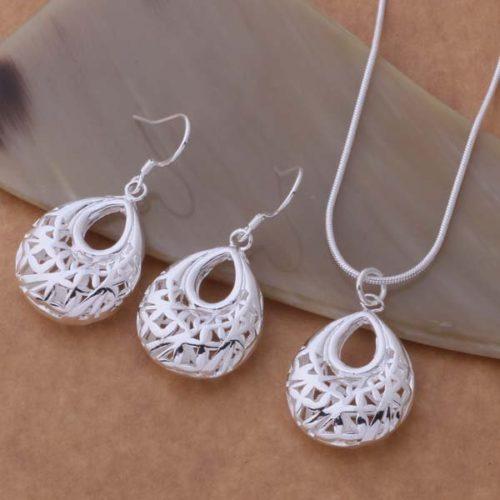 Silver plated Jewelry Sets Earring  Necklace  awoajnva dvmammta AS