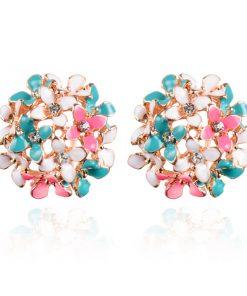 Stud Earrings for Women Female  Boucle d oreille Crystal Flower Clover Earring Gold Bijoux Jewelry