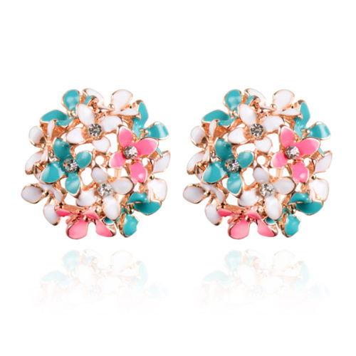 Stud Earrings for Women Female  Boucle d oreille Crystal Flower Clover Earring Gold Bijoux Jewelry