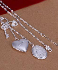 wholesale fine  sterling silver necklace fashion jewelry chain photo frame necklaces pendants women men collar