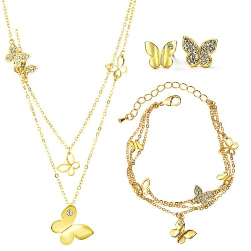 Комплект колие, гривна, обеци с 14к златно покритие и пеперуди