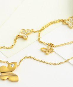 Колие с 14к златно покритие и пеперуди